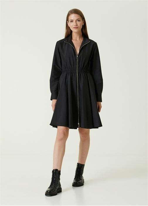 Siyah Dik Yaka Fermuarlı Midi Elbise