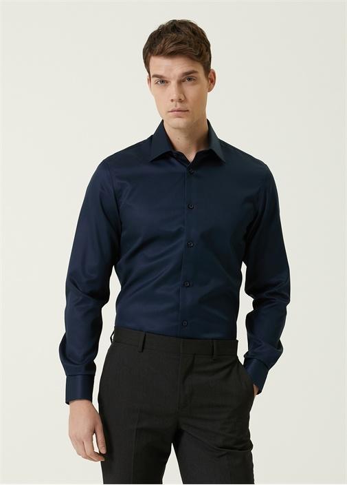 Slim Fit Beyaz Armürlü Non-Iron Gömlek