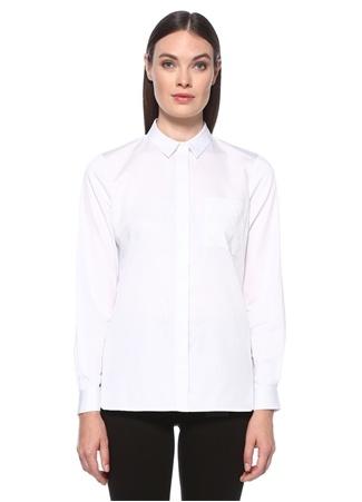 Network Kadın Basic Fit Beyaz Cebi İşleme Detaylı Gömlek S EU