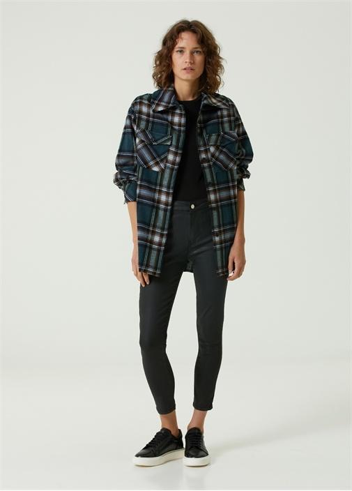 Siyah Kaplamalı Skinny Jean Pantolon