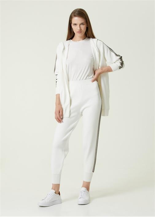 Beyaz Simli Şerit Detaylı Triko Pantolon