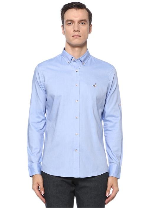 Slim Fit Mavi Polo Yaka Logolu Gömlek
