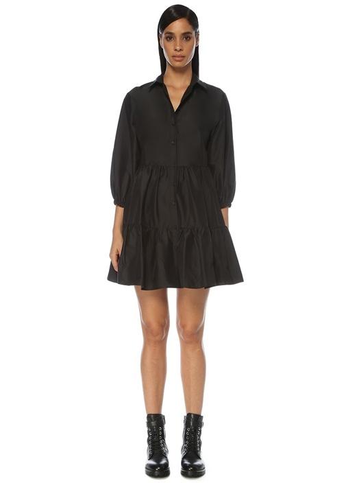 Siyah Balon Kol Fırfırlı Mini Tafta Elbise