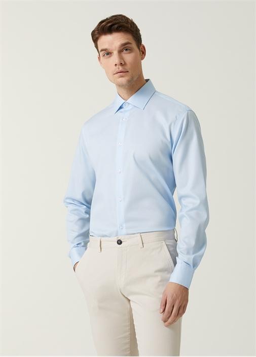 Comfort Fit Mavi Armürlü Non-Iron Gömlek