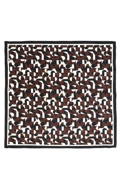 Kahverengi Desenli 90x90 Kadın İpek Eşarp