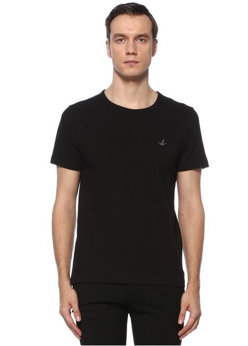 Siyah Logo Nakışlı T-shirt