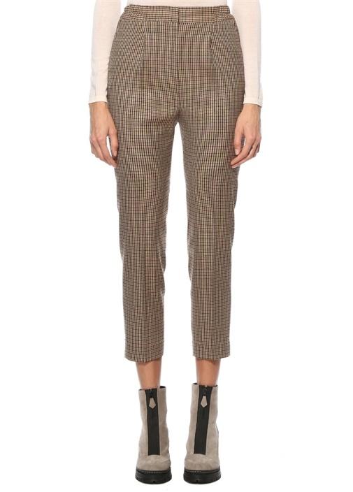 Kahverengi Ekoseli Pilili Pijama Pantolon