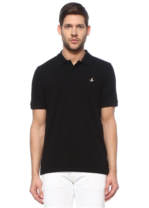 Comfort Fit Siyah Polo Yaka Dokulu T-shirt