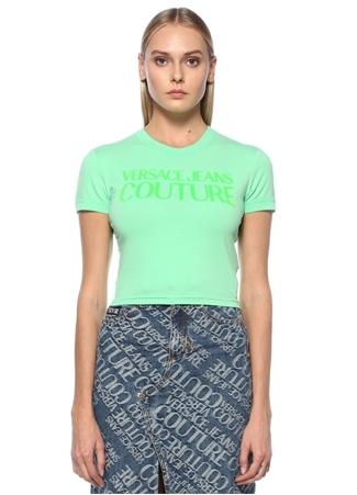 Versace Jeans Couture Kadın Yeşil Logo Baskılı Cropped T-shirt S EU