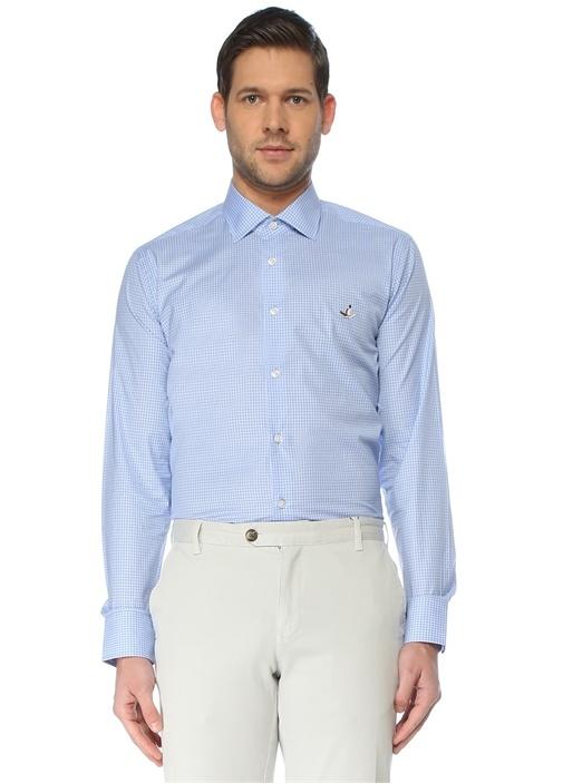 Slim Fit Mavi İngiliz Yaka Pötikareli Gömlek