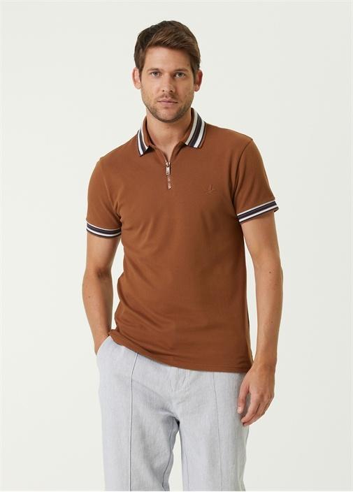 Slim Fit Kahverengi Polo Yaka Şerit Detaylı Tshirt