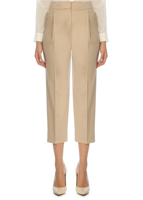 Bej Yüksek Bel Pilili Crop Yün Pantolon