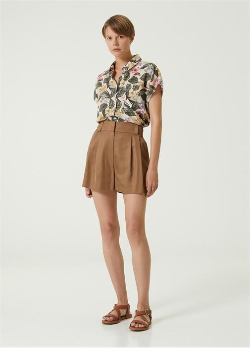 Bej Tropikal Desenli Kısa Kol Gömlek