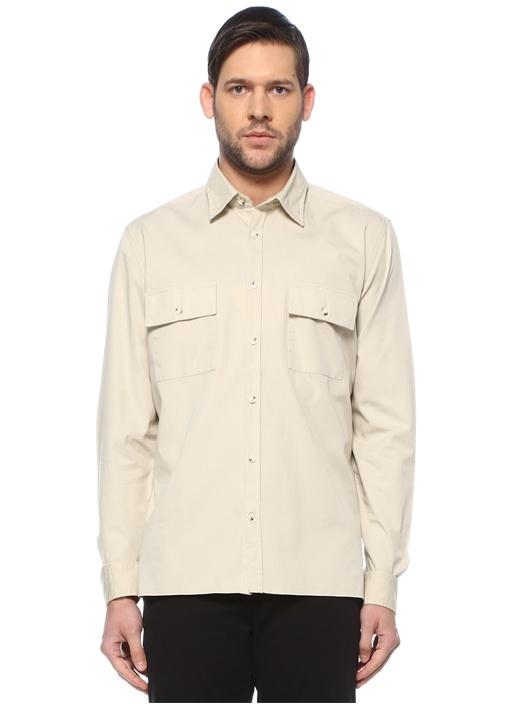 Custom Fit Bej Modern Yaka Gömlek