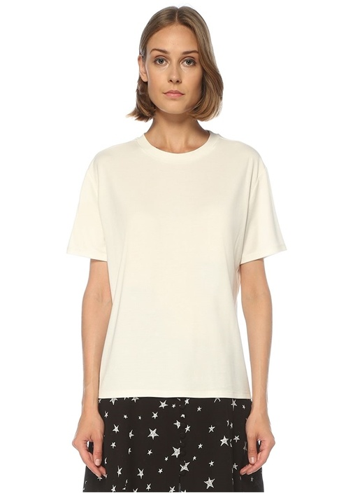 Beyaz Düşük Kol Rahat Kesim T-shirt