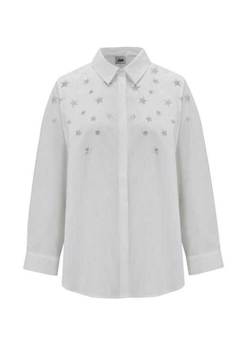 Oversize Beyaz Yıldız Detaylı Poplin Gömlek
