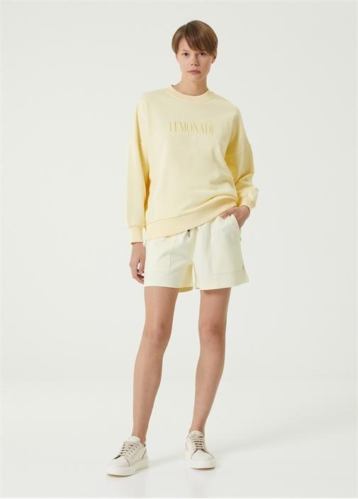 Sarı Beli Kordonlu Mini Jersey Şort
