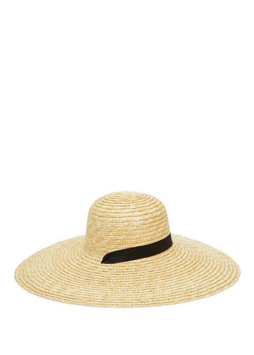 Bej Grogrenli Hasır Dokulu Kadın Şapka