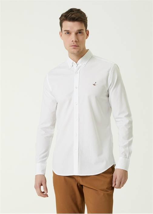Slim Fit Beyaz Düğmeli Yaka Oxford Gömlek