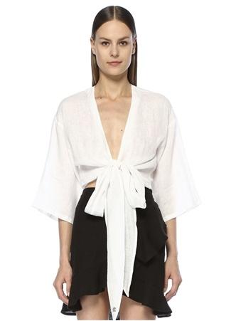 Dor Raw Luxury Kadın Meet Me At The Pier Beyaz Bağcıklı Keten Gömlek L EU