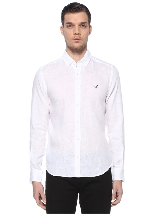 Comfort Fit Beyaz Polo Yaka Keten Gömlek