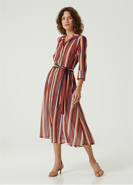 Çizgili Beli Kuşaklı Midi Gömlek Elbise