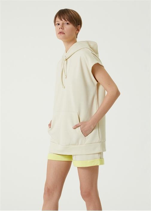 Bej Kapüşonlu Kısa Kol Oversize Sweatshirt