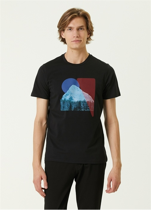 Siyah Dağ Baskılı Basic T-shirt