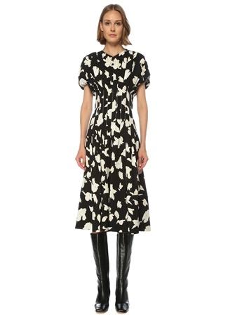 Proenza Schouler Kadın Siyah Beyaz Çiçekli Kısa Kol Midi Elbise 2 US