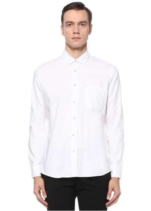 Slim Fit Beyaz Polo Yaka Oxford Gömlek