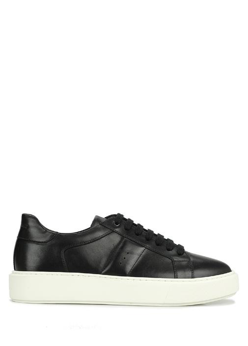 Siyah Kalın Tabanlı Erkek Deri Sneaker