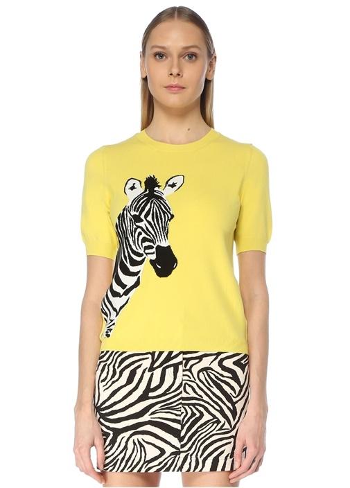 Sarı Zebra Jakarlı Kazak
