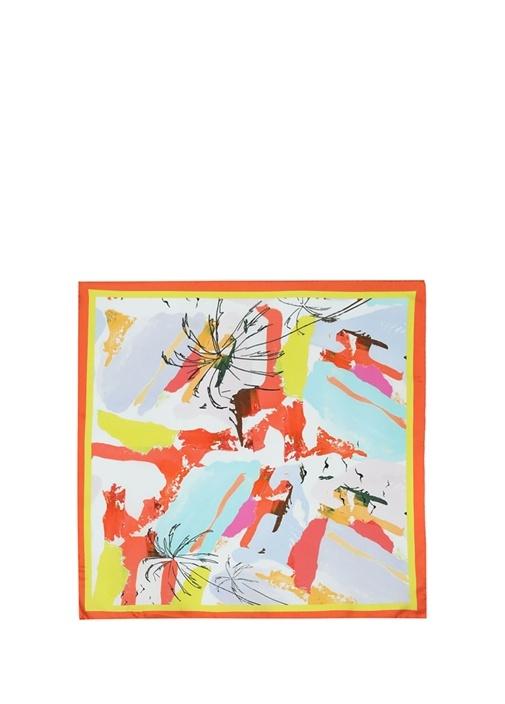 Renkli Leke Desenli 50x50 cm İpek Eşarp