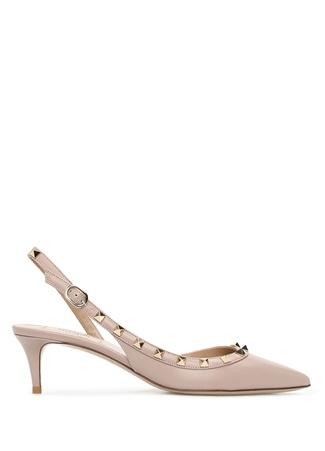 Valentino Garavani Kadın Rockstud Altın Rengi Deri Topuklu Ayakkabı 36 EU