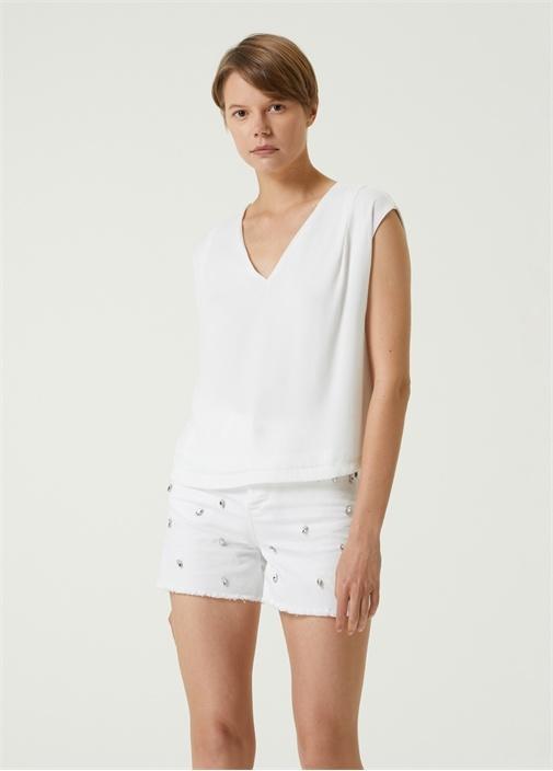 Beyaz V Yaka Kolsuz T-shirt