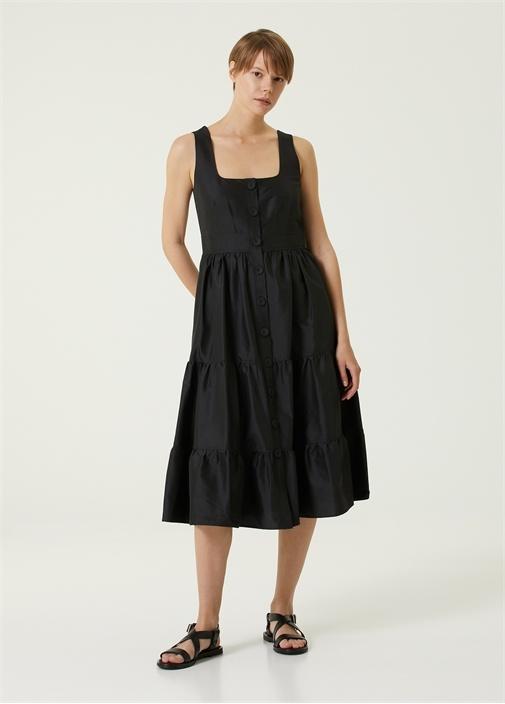 Siyah Kare Yaka Midi Tafta Elbise