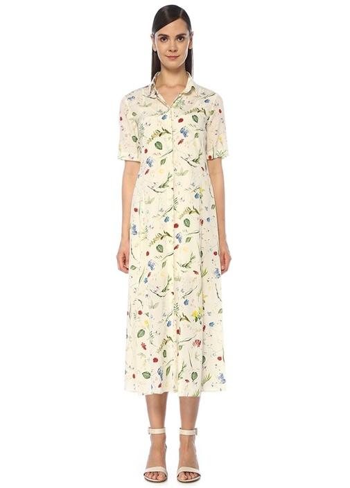 Beyaz Çiçek Desenli İpek Midi Gömlek Elbise