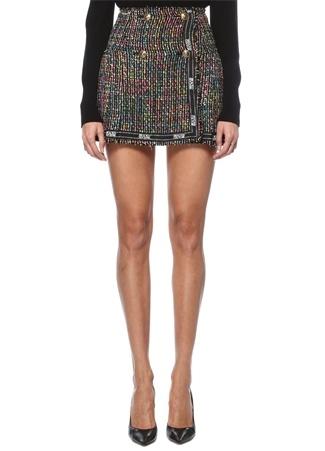 Versace Jeans Couture Kadın Siyah Tweed Dokulu Nopeli Mini Etek 38 IT