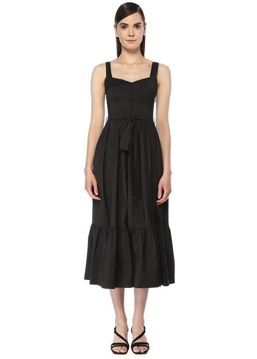 Siyah Beli Kuşaklı Midi Tafta Elbise