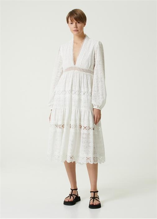 Beyaz V Yaka Dantel Garnili Midi Elbise