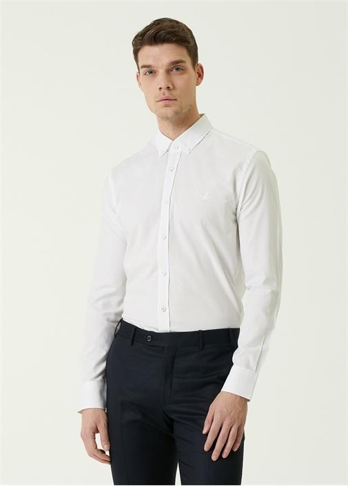 Slim Fit Beyaz Düğmeli Yaka Reflektifli Gömlek