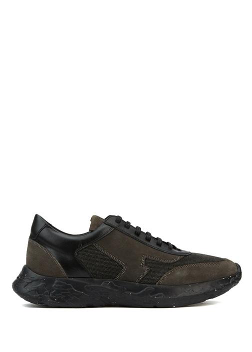 Siyah Garnili Logolu Erkek Deri Sneakers