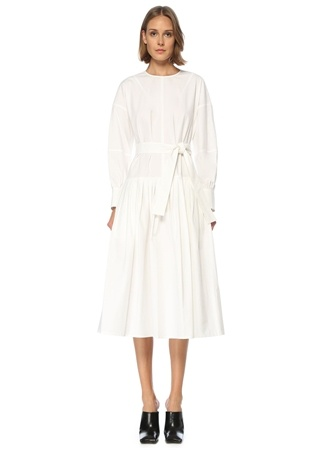 Proenza Schouler Kadın Beyaz Kuşaklı Uzun Kol Midi Elbise 2 US