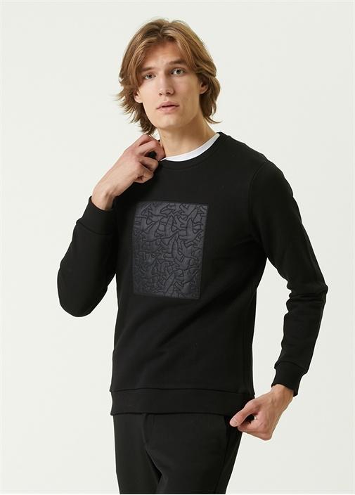 Siyah Monogram Logo Detaylı Sweatshirt