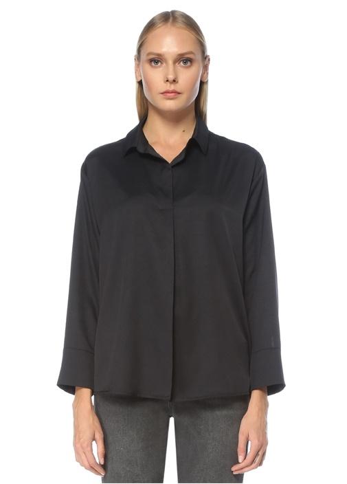 Siyah Gömlek Yaka Uzun Kol Bluz