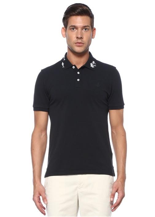Slim Fit Lacivert Yakası Reflektif Figürlü T-shirt