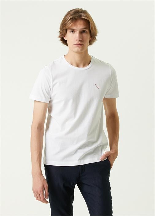 Beyaz Mini Logo Detaylı Basic T-shirt