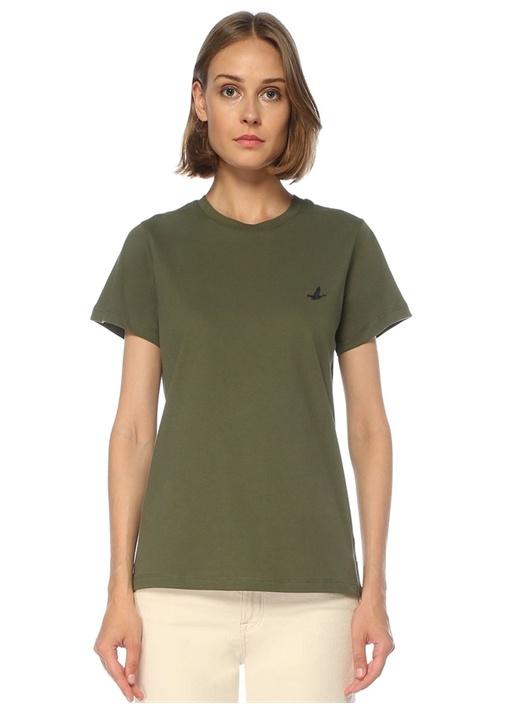 Haki Bisiklet Yaka Dökümlü T-shirt