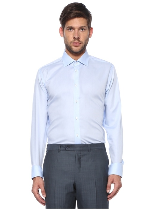 Slim Fit Noniron Mavi Klasik Twill Gömlek