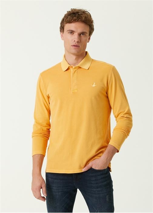 Comfort Fit Sarı Polo Yaka Uzun Kol T-shirt